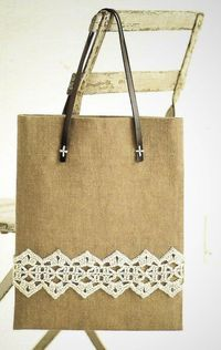 crochet lace trimmed bag