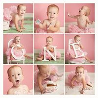 one year old baby portrait - collage with o-n-e letters