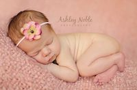 Baby pink flower headband. $6.00, via Etsy.