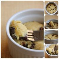 For those days you just want to make one cookie... 1 tbsp. butter (melted), 1 tbsp. white sugar, 1 tbsp. brown sugar, 3 drops of vanilla, pinch of salt, 1 egg yolk, 1/4 c. flour, 2 tbsp. chocolate chips ... MICROWAVE 40-60 SEC IN A CUP OR BOWL. si...