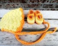 Crochet Sweet Summer Bonnet with matching crochet Mary Jane's
