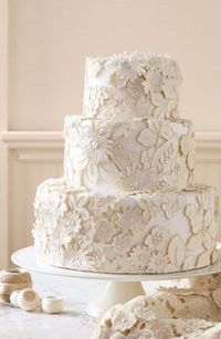 Over the Top Floral Detailed Cream and White Fondant Wedding Cake