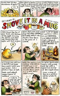 Fun recipe for a quick apple treat in a mug with a cute comic :O)