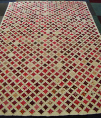 """Quilt Inspiration: Red and Cream Cathedral Windows Hand Made Quilt. 55""""x 82"""" Christmas"""