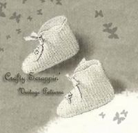 $3.50 - 1940's Crochet Embroidered Baby Booties Pattern