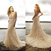Wholesale WG-028 Elegant lace beaded V-neck bridal wedding dress 2011, Free shipping, $109.00-147.20/Piece | DHgate