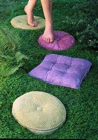 Tuffits Concrete Pathstones: concrete stepping stones that look like pillows
