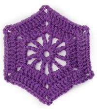 crochet hexagon wheel (for tree tiles of catan blanket)