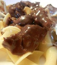 crockpot beef tips 1 - 3 lbs stew meat 1 can 7up, sprite or other lemon-lime soda (can be reg or diet) 1 pkg onion soup mix 1 pkg brown gravy mix 1 can condensed mushroom soup 1 can mushroom pieces (optional) mix all together and cook on l...