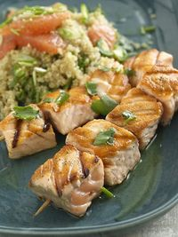 Salmon Kebabs With Quinoa and Grapefruit Salad