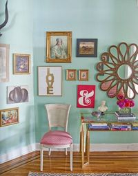 Love print, and oh, that wall color!