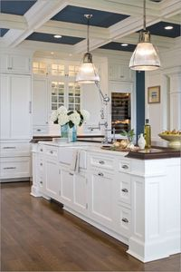 I love the pops of blue in the ceiling!