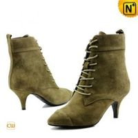 Women's Pointed Toe Lace Up Leather Boots - cwmalls.com