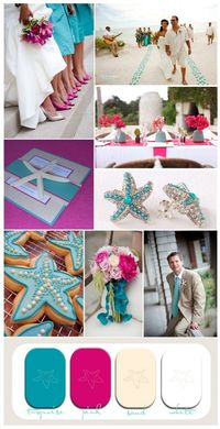 pink and turquoise beach wedding inspiration with starfish