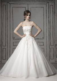 Ball Gown Square Floor Length Attached Tulle/ Silk Dupioni Beading Wedding Dress Style 8483