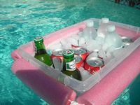 DIY cooler- cut a noodle and tie a rope through it, around a Rubbermaid bin. genius!