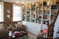 love the wallpaper & the built-in shelving ~ from Finding Home Living Room Book Case