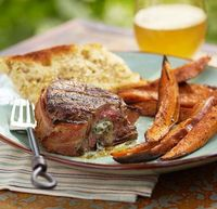 grilled guiness-soaked filets w/ blue cheese & sweet potatoes