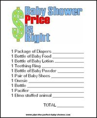 Baby Shower Price is Right {Printable}