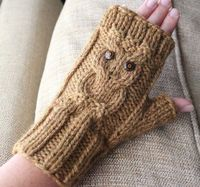 Owl Cable Fingerless Knit Gloves - Surly Sheep PDF Pattern. $4.50, via Etsy.