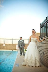 bride and groom on a rooftop in atlanta ga