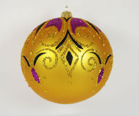 This vintage style Christmas ball ornament is 4.53'' (115mm) in diameter and made of hand blown glass. It is hand painted by a skilled artist and will be a beautiful addition to your Christmas ornaments collection. Artists use same pai...