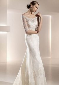 A-line Scoop neck Sweep / Brush Train Lace Wedding Dress