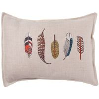 coral and tusk feathers pillow