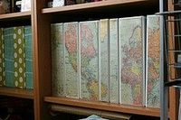 Binder covers - map, or even a photo, what a cool idea