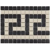 Old World Greek Key Antique White and Black 7-3/8 in. x 9-3/4 in. Unglazed Porcelain Mosaic Floor and Wall Tile