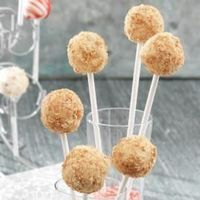 Cheesecake Pops! Each tasty treat is rolled in graham crackers and positioned on a lollipop stick to make a unique presentation for your dessert table or buffet.