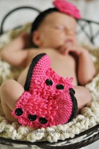Ugg inspired Baby Boots Crochet Hot Pink with Black Soles.