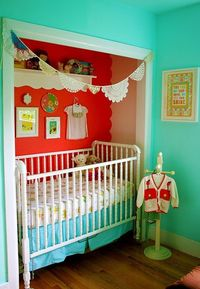 crib in a doorless closet to save space :)