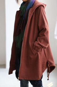 Fall cape coat Hood asymmetry Hem coat