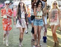 coachella- I LOVE LOVE the crochet top with high rise shorts and leg jewelry! So sexy. Blend of vintage with modern bohemian!