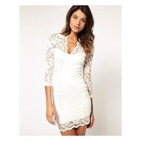 Lace Dress with Scalloped Neck