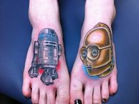 R2-D2 and C-3PO foot tattoos
