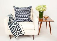COCOCOZY Logo Throw and Arch Reverse Linen Pillow in Navy!