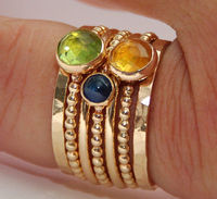 Peridot, Citrine, Sapphire Stackable 14k Gold Filled Birthstones Mothers rings, Personalized Jewelry, Gemstone Ring, Stackable Rings