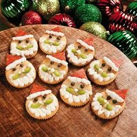 More fun! Round Crackers, Pepperoni Slices, Ricotta Cheese, Capers, Celery