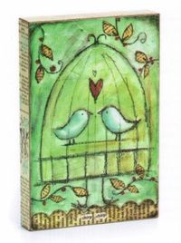 Love the paper wrapped canvas/board. by Lisa Kaus