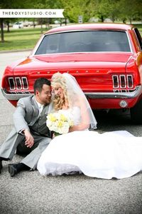 Photography by Samantha McGranahan, The Roxy Studio. Wedding photography, Terre Haute Wedding, wedding get away car, red mustang, vintage wedding cars, classic car