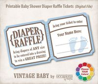 Baby Shower Diaper Raffle Tickets, Digital File, Vintage Baby. $6.00, via Etsy.