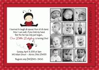 Lady Bug Photo 1st Birthday Invitation