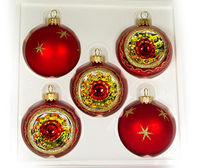 This set has five 2.4�€ (60mm) Christmas balls. Each item is hand painted by a skilled artist and will be a beautiful addition to your Christmas ornaments collection. Artists use same painting technique that was used in 1800's. Each gl...