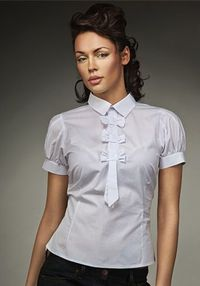 Letizia bows and tie blouse, White fitted short sleeve cotton top