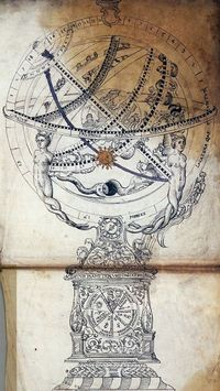 Astronomical clock and armillary sphere (c. 1600).