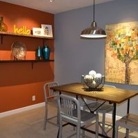 """Earthen Jug"""" by Sherwin Williams...add accent wall color sherwin williams diverse beige (this is not this crappy blue color in the pic.)"""