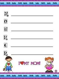 A template for students to write an acrostic poem for their mothers in honor of Mother's Day....