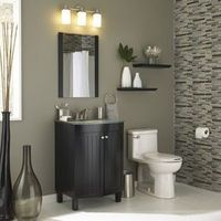 gray walls, black vanity, glass tiles. all lowes. Bathroom G / bath